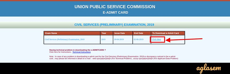 UPSC IFS Admit Card 2019 - Downloading link page