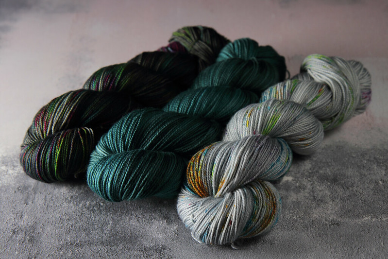 Hand dyed yarn skeins