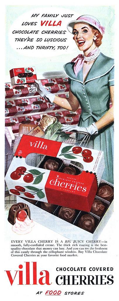 Villa Chocolate Covered Cherries 1951