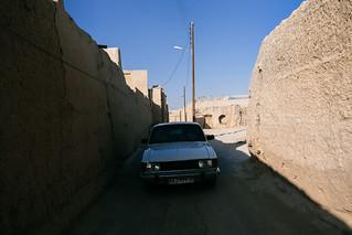 Narrow road in Varzaneh. Iran