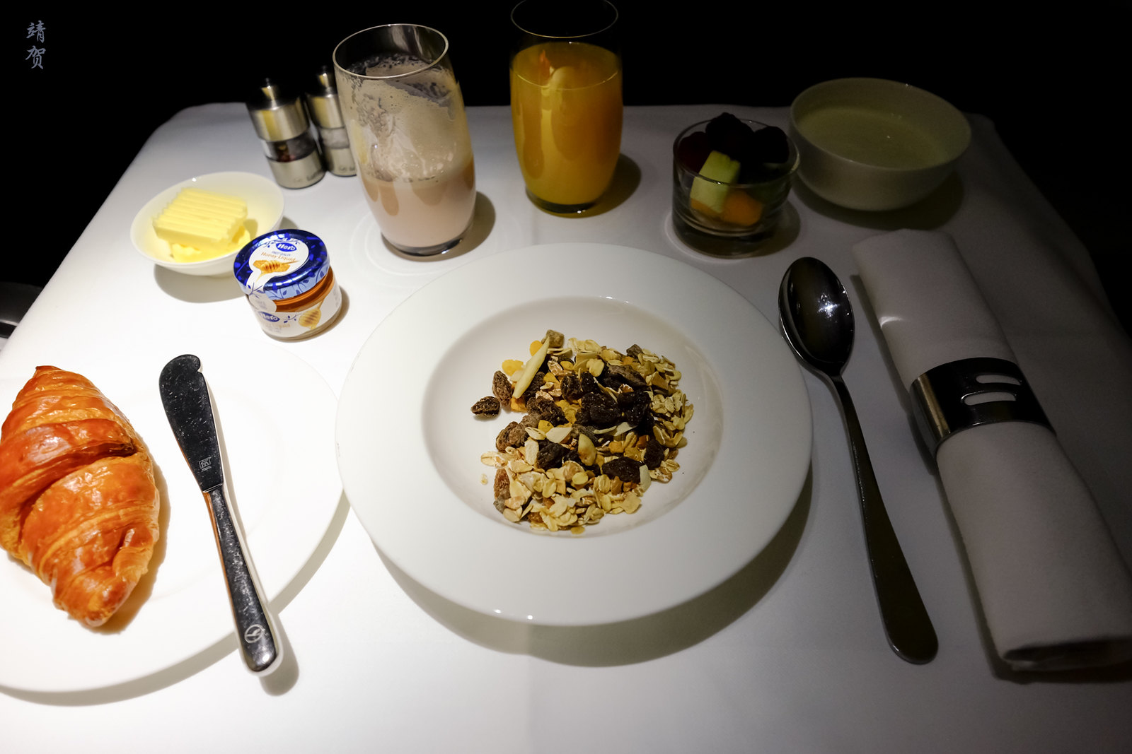 Muesli and croissant