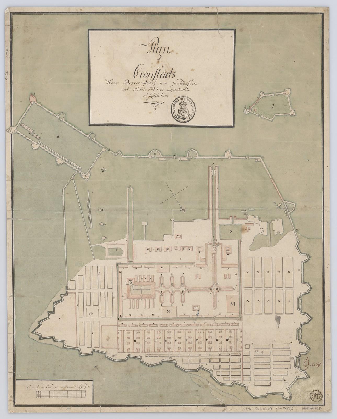 1785. План Кронштадтской гавани, доков, верфий и т. д., как это было утверждено в марте