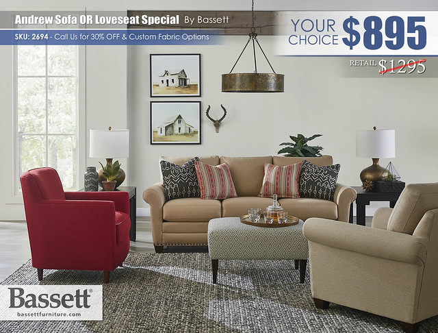 Andrew Sofa OR Loveseat by Bassett_2694-62B-Andrew-FA18_YourChoice
