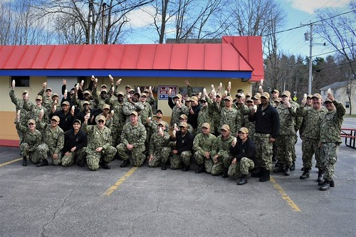 The crew of the future USS Lyndon B. Johnson (DDG 1002) made a confection connection with their namesake, April 25, when they visited a Dairy Queen in Topsham, Maine.