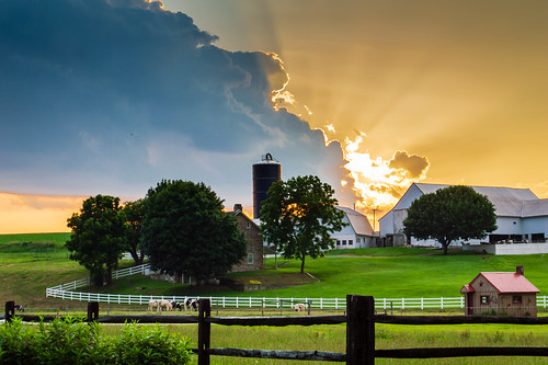 farm lancastercounty sunset meadow clouds landscape summer country rural