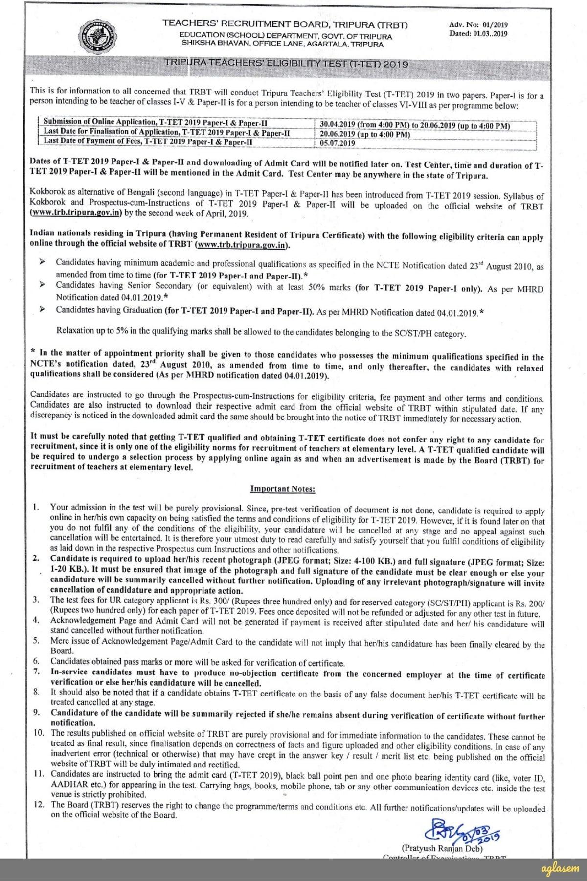 Tripura TET 2019 Notification