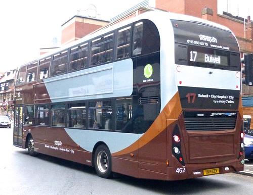 YN19 EEV 'Nottingham City Transport' No. 462 'Brown Line 17'. Scania N280UD / Alexander Dennis Ltd. Enviro 400CBG City /1  on Dennis Basford's railsroadsrunways.blogspot.co.uk'