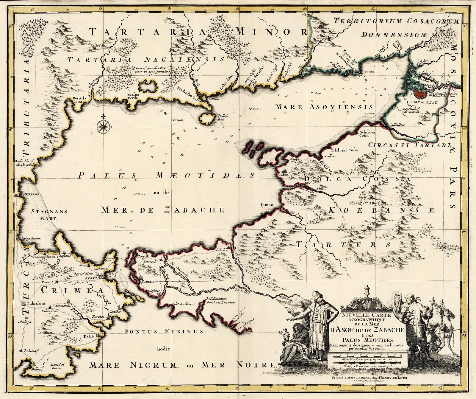 1650-1750. Новая географическая карта моря Азова или Забахе и Меотидов Палуса, Генри Висшер, Николя Лет, Амстердам