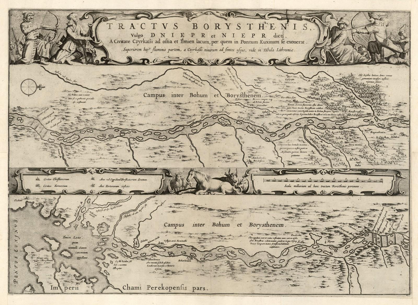 1650-1700. Течение Борисфена, обычно Днепр и Непр, от города Черкассы к озеру Ильмень, до Черного моря