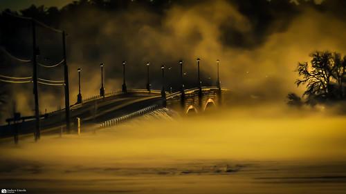 bridge berkley snow fog