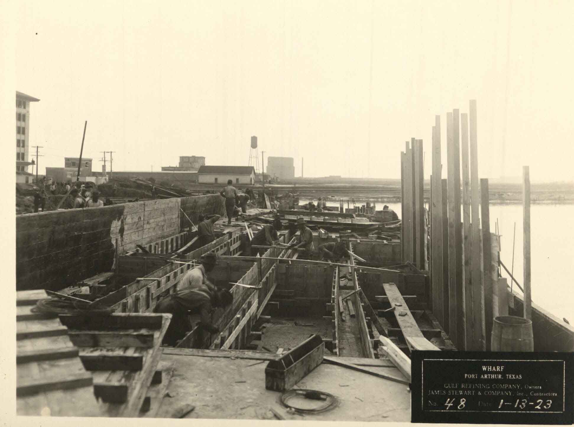 Building a wharf at Port Arthur, 1923