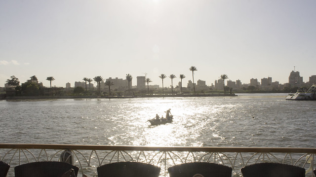 Nile fishing in sunsent