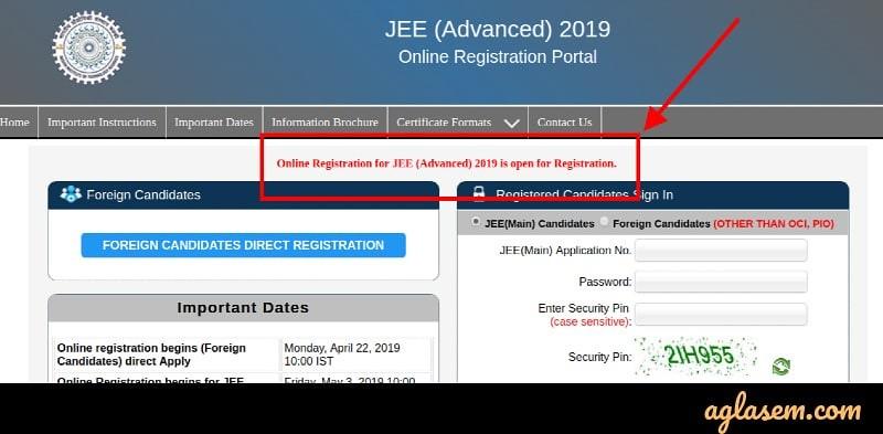 JEE Advanced 2019 Registration