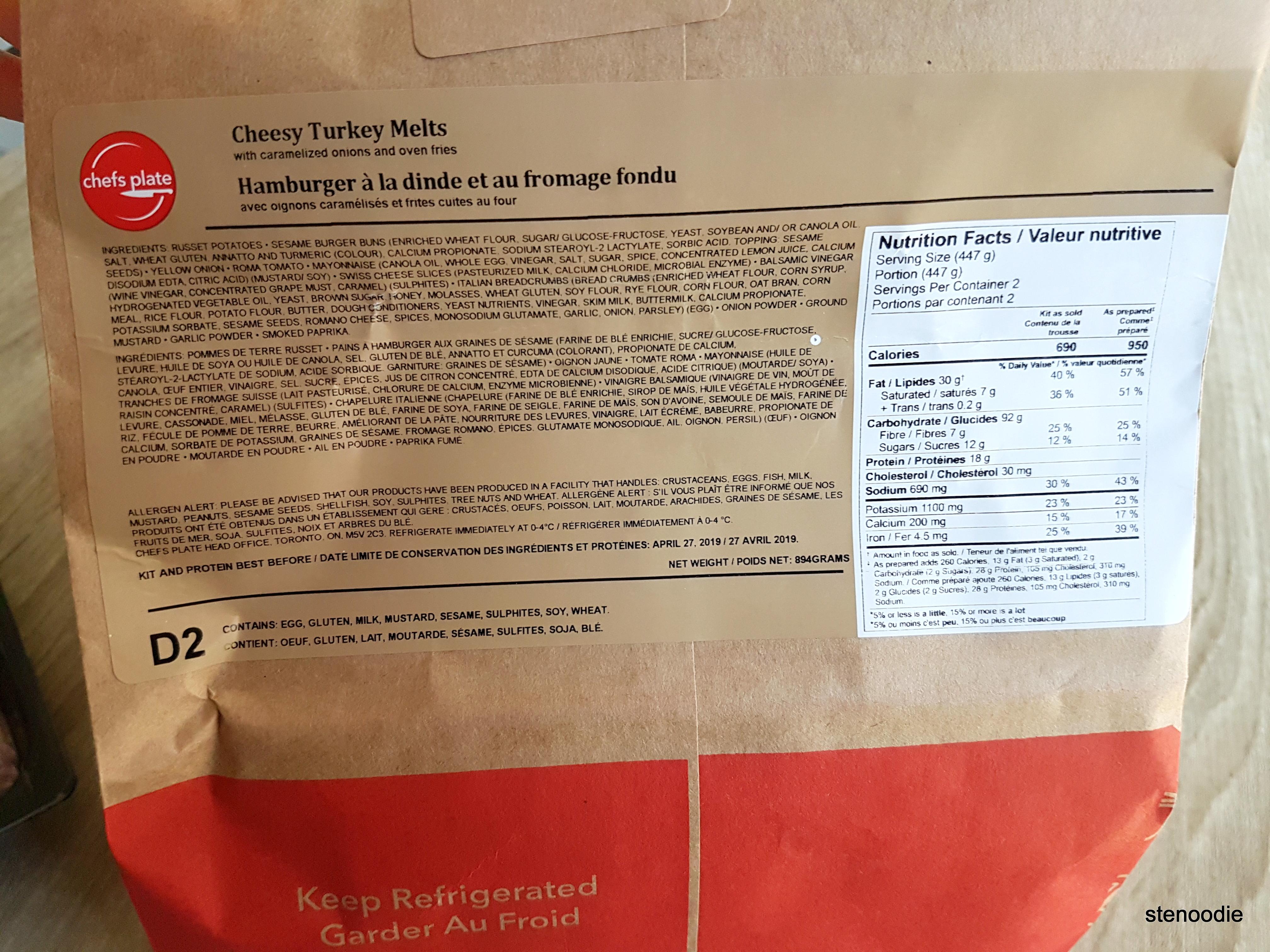 Cheesy Turkey Melts nutrition information