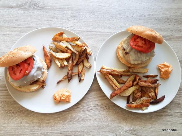 Two servings of turkey burgers