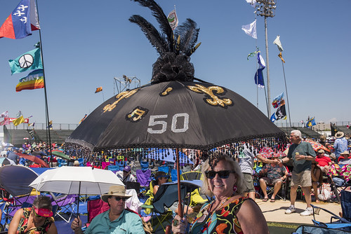 Freddye Diaz and her 50 umbrella at Jazz Fest day 2 on April 26, 2019. Photo by Ryan Hodgson-Rigsbee RHRphoto.com