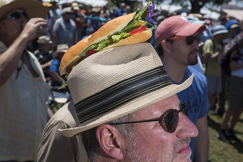 Alligator po boy hat on Lee Haward at Jazz Fest day 2 on April 26, 2019. Photo by Ryan Hodgson-Rigsbee RHRphoto.com