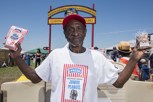 Lucius Thompson, who has been selling peanuts at Jazz Fest for over 50 years, during day 2 of the festival on April 26, 2019. Photo by Ryan Hodgson-Rigsbee RHRphoto.com