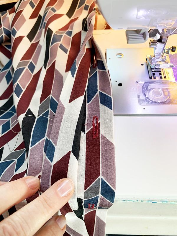 silk blouse placket detail