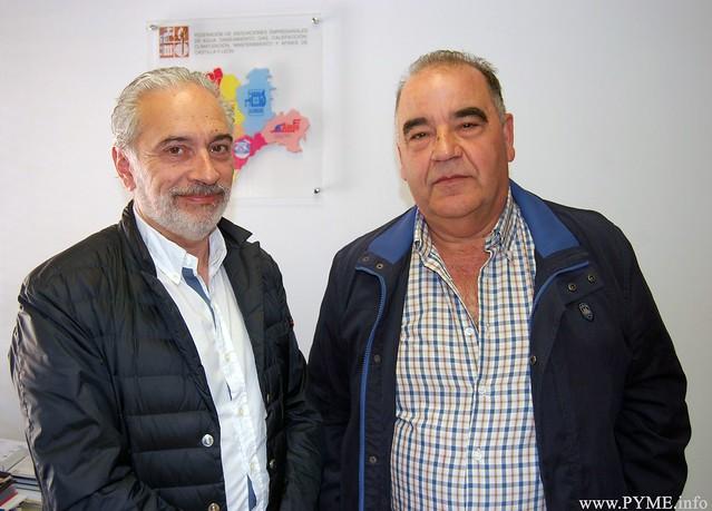 Esteban Blanco, nuevo presidente de FEINCAL, junto al tesorero de la Federación y presidente de AESFONCA, Manuel Álvarez.