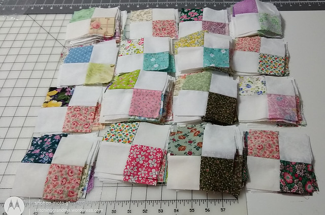 Lots of 4 patches for the mystery quilt