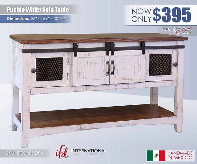 Pueblo White Sofa Table_IFD360SOFA