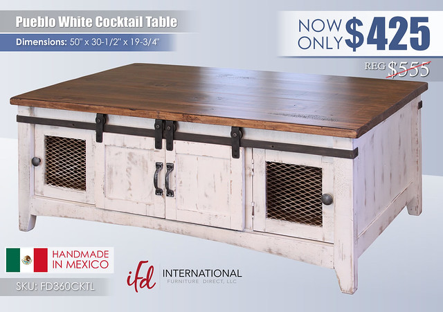 Pueblo White Cocktail Table_FD360CKTL