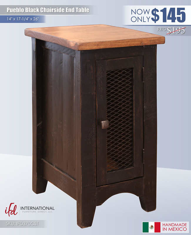 Pueblo Black Chairside End Table_IFD370CST