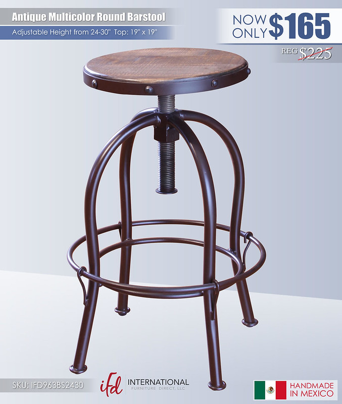 Antique Multicolor Round Adjustable Barstool_IFD963BS2430