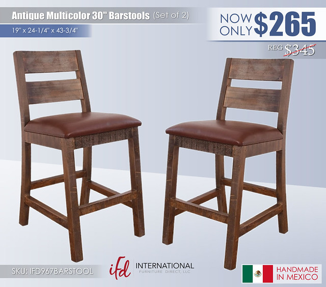 Antique Multicolor 30in Barstools_IFD967BARSTOOL
