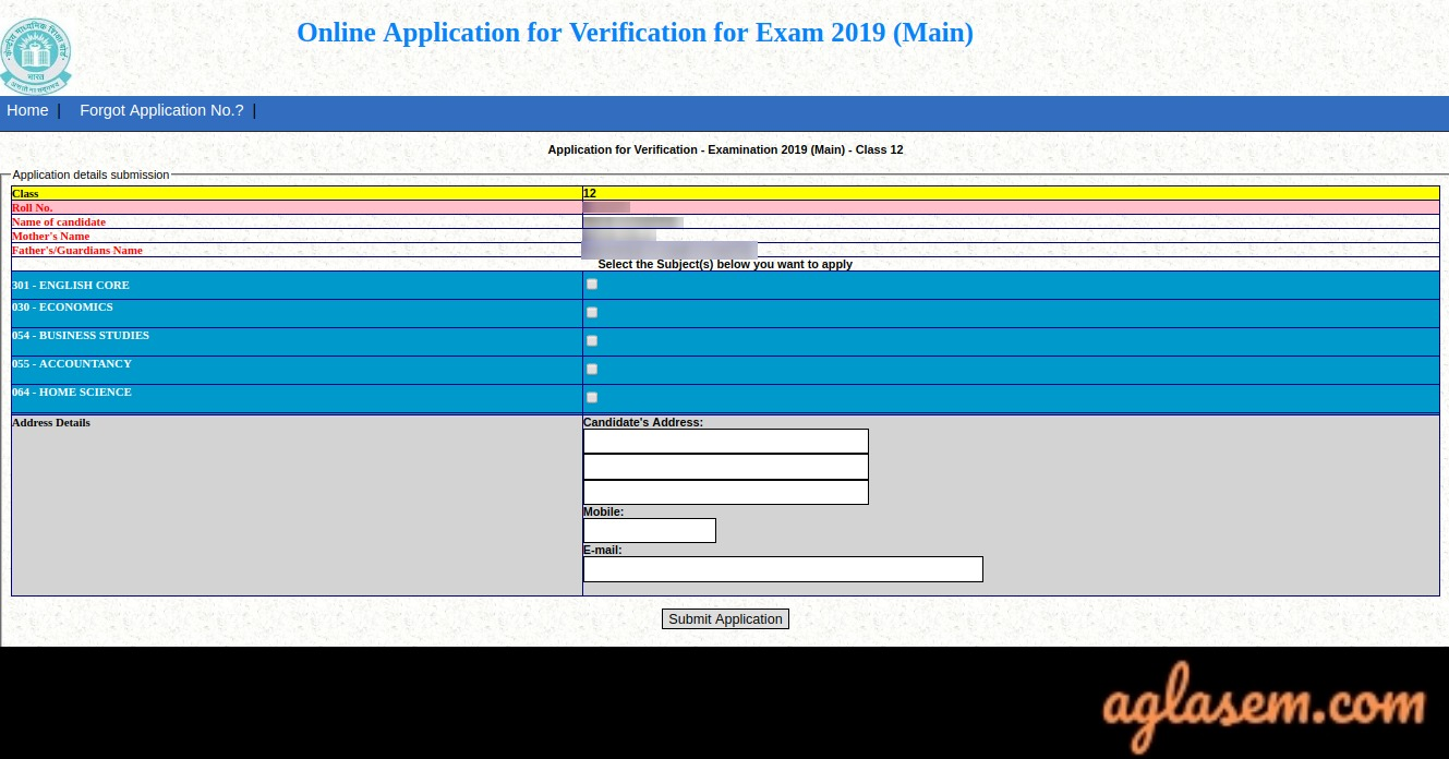 CBSE 12th Revaluation/ Re-verification 2019 Result, Form