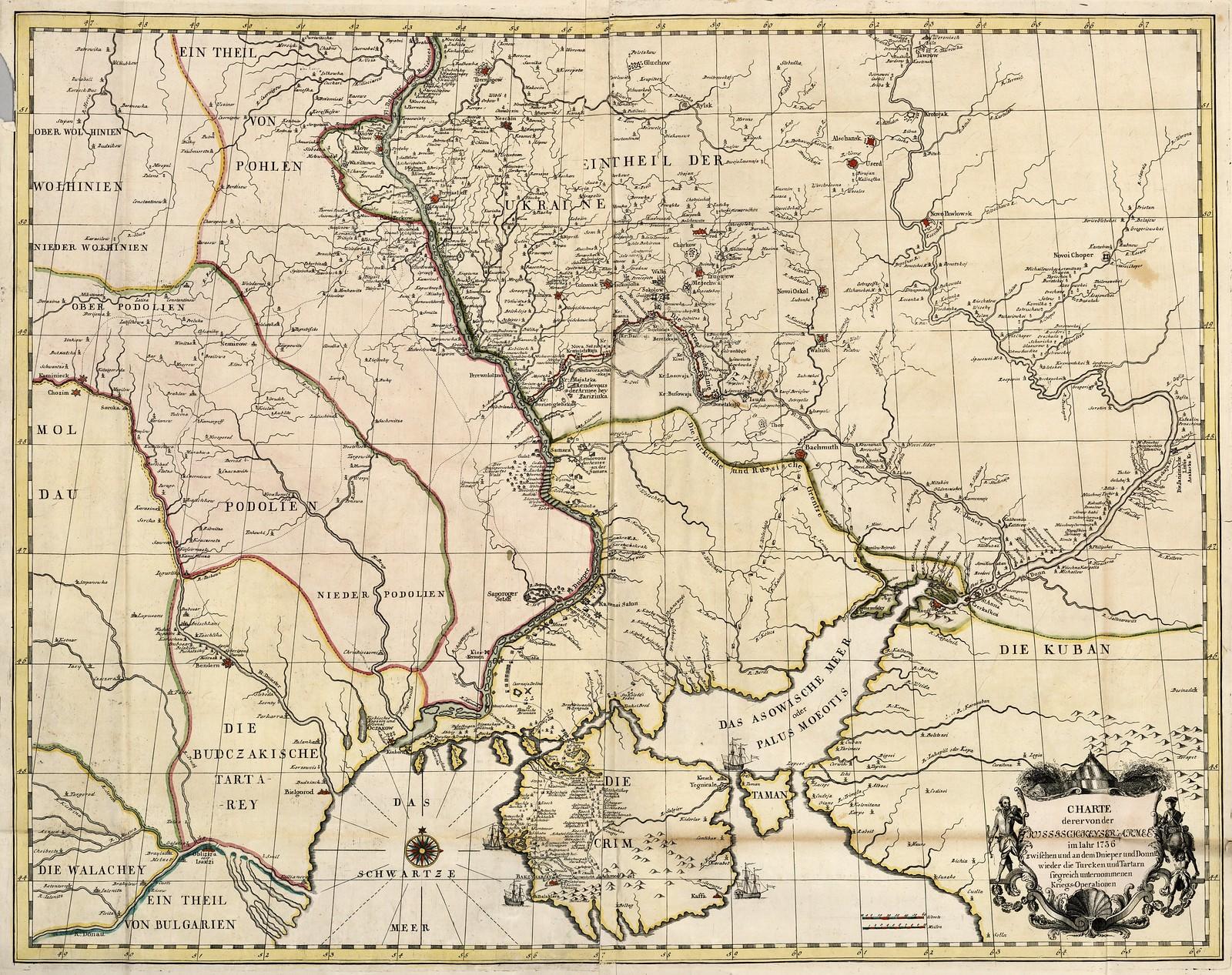 1736. Карта расположения российской армии