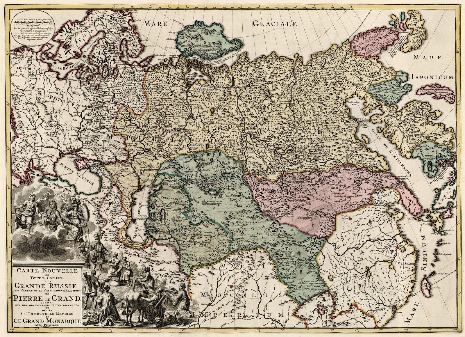 1725. Новая карта всей Империи Великой Руси в состоянии, в котором она оказалась при смерти Петра Великого.