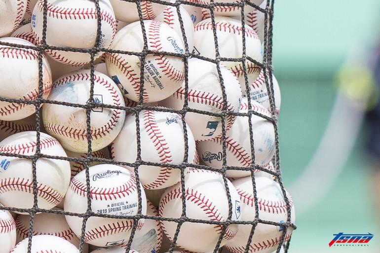 大聯盟打擊練習用球(資料照,駐美特派王啟恩/波士頓現場拍攝)