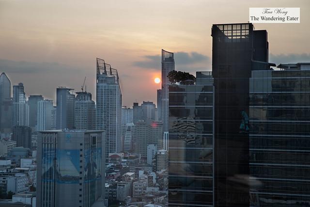 Bright orange sun during sunrise taken at Yamazato