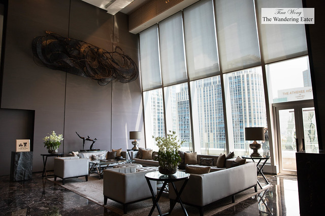 Modern lobby with a view of Central Bangkok