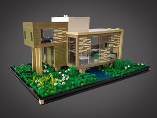 Checkered Tan House MOC. Front. | by betweenbrickwalls