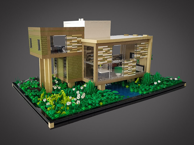 Checkered Tan House MOC. Front.