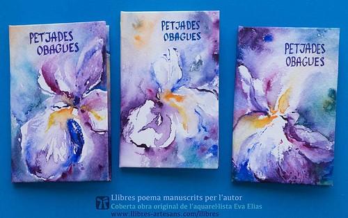 Sèrie Petjades obagues, llibre poema de Ferran Cerdans Serra, cobertes art original Eva Elias