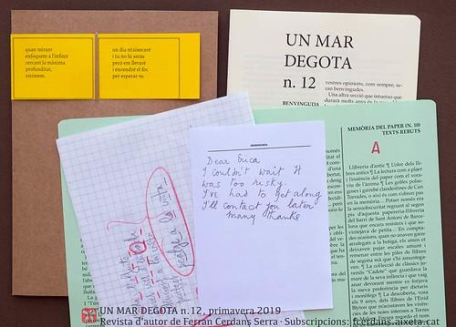 Adjunts a la butxaca, Un mar degota n.12, revista d'autor de Ferran Cerdans Serra, primavera 2019