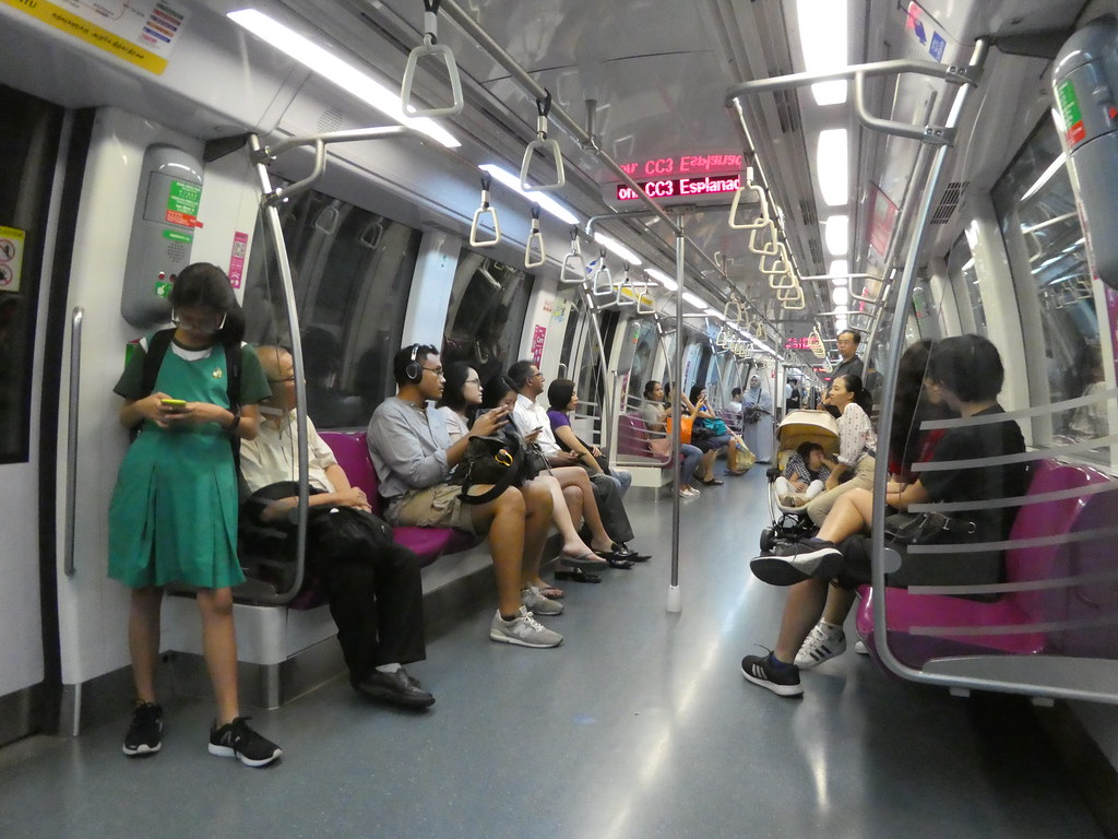 On board the Singapore MRT