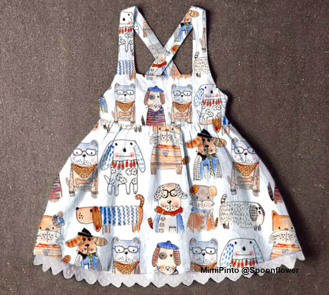 Cotton Pinafore dress for an Awesome Princess and a dog lover