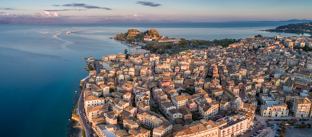 Aerial panorama of Corfu Old Town