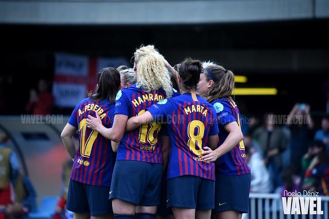 Celebración del gol conseguido ante el Bayern de Múnich en el partido de vuelta de las semifinales de la UEFA Women's Champions League | Foto de Noelia Déniz, VAVEL