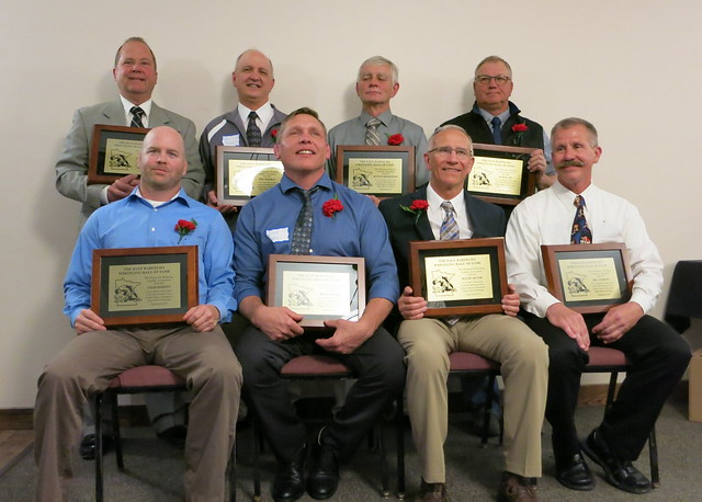 2019 MWCA Dave Bartelma Hall of Fame inductees. Front (L-R): Chad Erikson, Brad Gibson, Maury Meyer, and Bill Schmidt. Back (L-R): Doug Paulson, Wes Tessman, Dennis Schermerhorn, and Marty Aho. 190504AJF0862