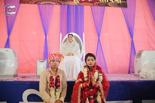 Newlywed couple seeking blessings