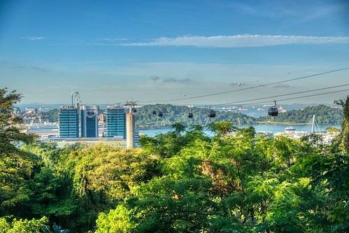 cable car mount faber peak sentosa island harbourfront tree forest hill sky blue morning green singapore southeast asia sony alpha 77 slt dslr