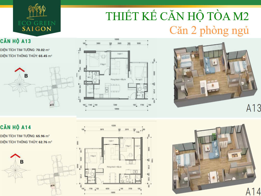 Mặt bằng căn hộ A13-A14, loại 2 phòng ngủ, tòa tháp M2 dự án Eco-Green Sài Gòn quận 7.