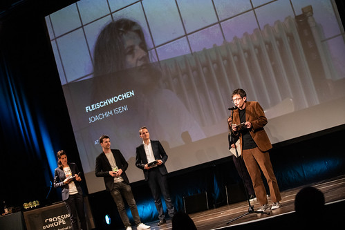 CE19 - awards ceremony // Moderator Karin Schmid, Marco Zinz (The Grand Post), Alexander Fischbacher (The Grand Post), Sebastian Markt (Jury Competition - Local Artist // photo © Andreas Wörister / subtext.at