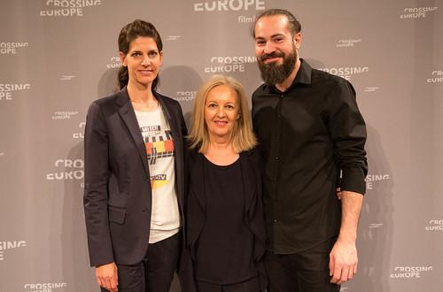 CE19 - Award Ceremony // Moderator Karin Schmid, Christine Dollhofer (Festival Director), Florian Hackl (Mezzanin Bar) // photo © Christoph Thorwartl / subtext.at